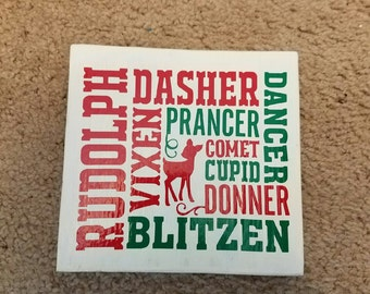 Christmas subway art, Reindeer names, Subway art with reindeer names, Christmas plaque, Christmas decor, Mantel decor, Decorating