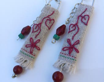 Upcycled Boho Gypsy Textile Drop Earrings