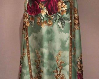 Silk satin blend fabric by the yard, Green Royalty print satin, Floral print silk satin, digital print satin silk, dress fabric, Prom dress