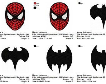 3 Batman and Spiderman 01 Embroidery Designs
