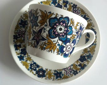 1960's china tea cup and saucer, Royal Tuscan, Wedgwood group, Nocturne design.