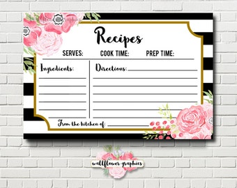 Kate Recipe Cards Bridal Shower Game // Printable Bridal Shower Game // Black & White Pink Floral Bridal Shower Game // Floral Recipe Cards