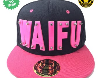 Sparkling Waifu Acrylic Letter Snapback Hat with pink brim