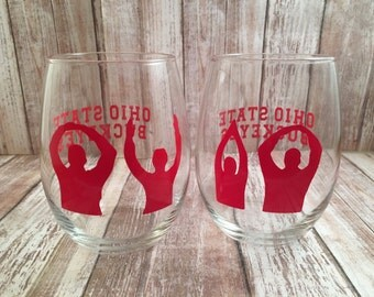 Ohio State Buckeyes Wine Glasses, Ohio State University Gift, O-H-I-O Wine Glasses, OSU Graduation Gift, Ohio State Birthday Gift