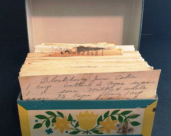 Vintage Blue Yellow Floral Recipe Box with Recipes, Retro Kitchen Recipe Box with Pennsylvania Dutch Pattern  -B10
