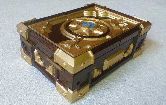 Wooden Oak Hearthstone Box Replica Mini Wood Carving Free