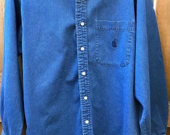 Vintage Men's Nautica Denim Long sleeve Button Down Blue Large