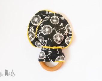 Black and White Bike Organic Wood Teething Ring / Mustard Minky Backing / Teething Toddler / Baby Christmas Gift / Ready to Ship  UK Seller.