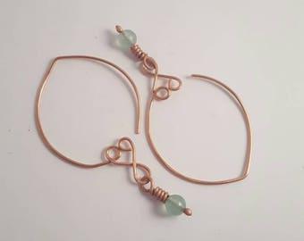 Copper earrings, fashion earrings, beaded earrings