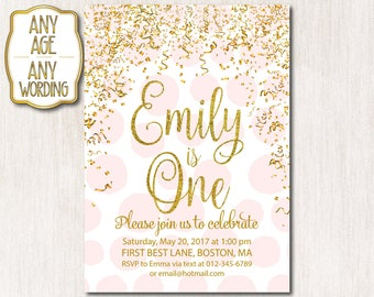 Birthday invitation, White and Gold 1st Birthday, Invitation card, Invitation Girl, Pink Gold Confetti , Girl First Birthday, ANY AGE - 1518