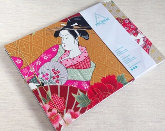 Notebook/notebook cover fabric envelope Japanese geisha (A5)