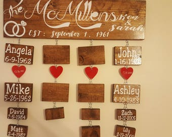 Family Tree Board, Anniversary present, Mothers Day present, Family Name Sign, Birthdays, Anniversary, Last Name Sign,  2 children , F110