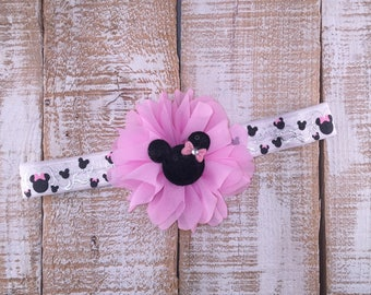 Minnie Mouse Inspired Headband, Birthday Headband, First Birthday Headband, Shabby Chic, Photo Prop, Cake Smash