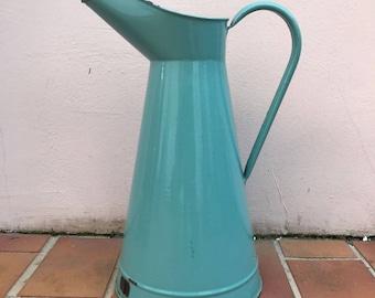 Vintage French Enamel pitcher jug middle green water enameled