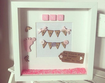 New Born Frame, Personalised, Gift, New Born, Baby Girl
