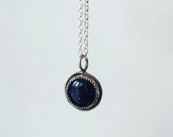 Blue goldstone pendant//sterling silver pendant//galaxy pendant