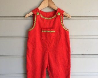Toddler's Orange Cord Overall Playsuit Romper