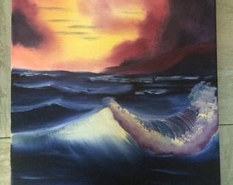 Ocean Sunset Oil Painting