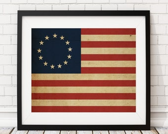 Betsy Ross Flag, American Flag, United States Flag, Flag Art, Flag Print, Country Flags, Flag Painting, US, USA, History Gifts, History Buff