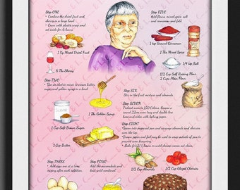 Illustrated recipe, illustrated food, recipe art, cooking illustration, kitchen decor, menu art, art print, recipe print , food art