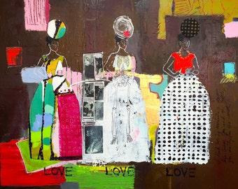 Frida, with Diego, in Love ....Frida Kahlo, Colorful Wall Art, Modern Wall Art, Fine Art Print, Mexican Folk Art, Diego Rivera, Mexico
