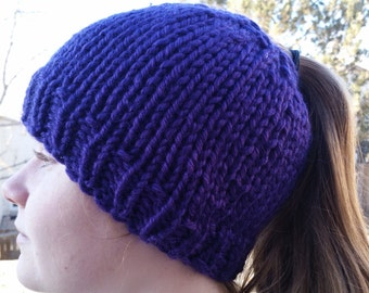 Hand Made, Messy Bun, Ponytail, Chunky, Hand Knit Beanie Hat in Purple