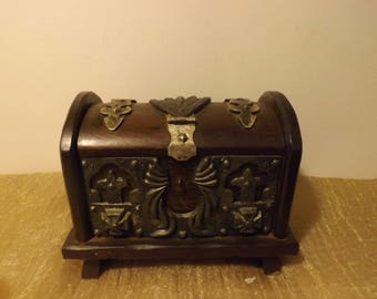 Old box for jewelry or the cigarettese / covered with hand forged metal