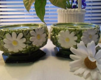 Green Retro Daisy Candle Holders White and Yellow Daisy Made in Japan