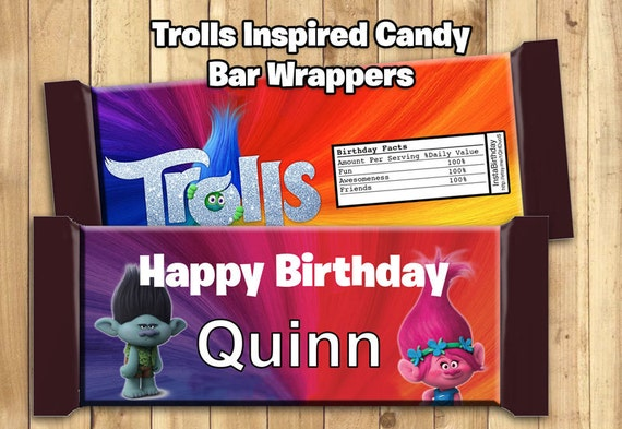 Trolls Personalized Chocolate Bar Wrappers