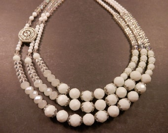 Bridal Jewellery - Three Strand White Asymmetrical, White Crystal Bridal Necklace with Silver Rhinestone Slider Focal
