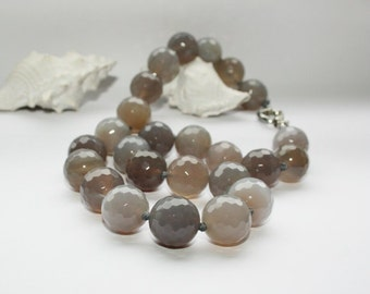 Necklace, necklace and earrings, necklace, agate, water agate, length 47 cm