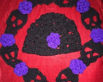 Skull/Roses Scarf & Beanie Set