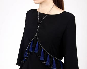 Handmade Body Chain Navy & Black Tassel With Crystals; Body Jewelry With Crystals