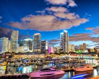 Miami Skyline, Miami Canvas, Wall canvas, 3 panels canvas or choose a single print,Miami Color Canvas Art Print, Miami Beach large canvas