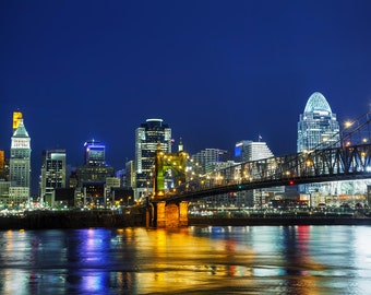Cincinnati at night, Cincinnati Canvas, Cincinnati skyline, Cincinnati Wall canvas, 3 panel or single panel, Cincinnati wall art