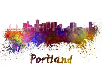 Portland skyline watercolor canvas,  Portland Canvas, Portland wall art, Portland Canvas Wall Art, Portland wall art canvas, Portland Oregon