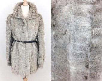 Vintage sapphire/blue/silver/grey mink 3/4 length real fur coat/jacket. 밍크 모피 코트 معطف فرو المنك 貂皮-ミンク норковая Шуба