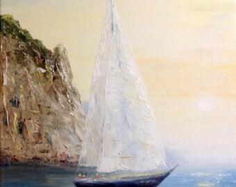 Sailboat Painting Canvas Palette Knife Seascape Impressionism Art Work Ocean Painting Sea Painting Wall Art Canvas Modern Ukrainian Painting