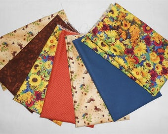 Sunflower Fabric Fat Quarter Bundle 7pc. -Sunflowers/Chickens/Dogs/brown/green/blue/burgandy/orange/cream tones (#O231)