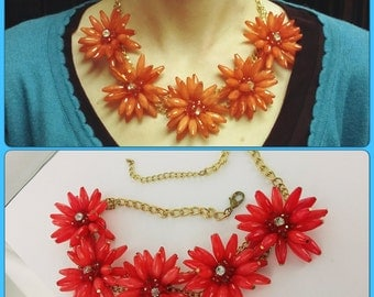 1960s Coral Flower Bib Necklace