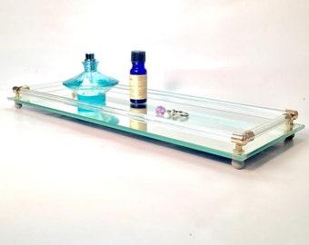 Mid-Century Mirrored Vanity Tray, Dresser Tray, Mirror Tray