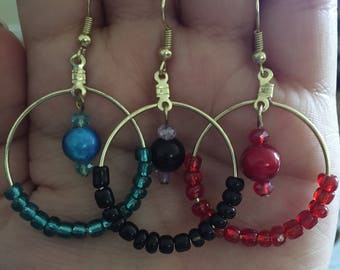 New Colors Added! Hoop Earrings with Beads