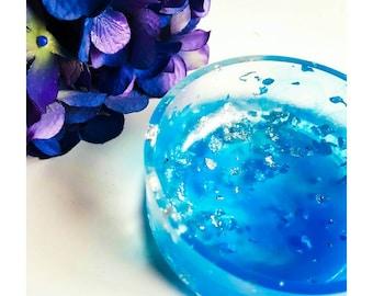 Blue and silver leaf resin trinket dish