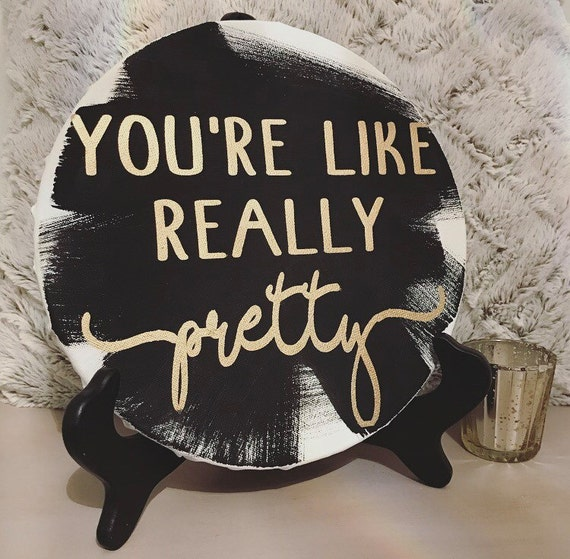 Circle canvas - wall hanging - vanity decor - girly decor - Mean Girls quote - black and gold