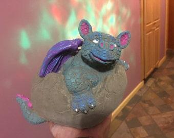 Hand Painted Aurora Borealis Concrete Dragon Statue, 'Eggbert,' Fantasy and Fairy Garden, Magical Decor