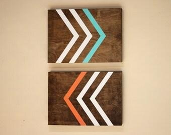 Modern Wall Art   Wood Wall Art   Geometric Wall Art    Chevron Art   Diptych   Abstract Art