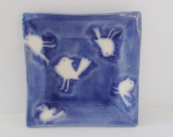 Blue bird dish, square ceramic dish with birds, blue ceramic dish