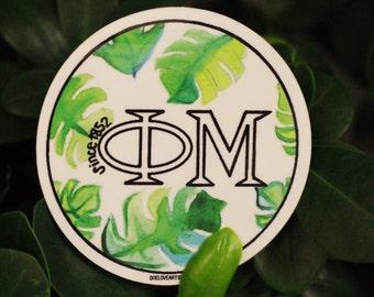 Phi Mu Watercolor Palm Sticker
