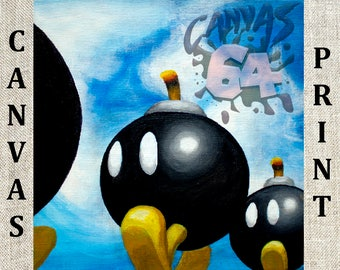Bob-Omb Battlefield CANVAS PRINT (Super Mario 64) Painting from Princess Peache's Castle