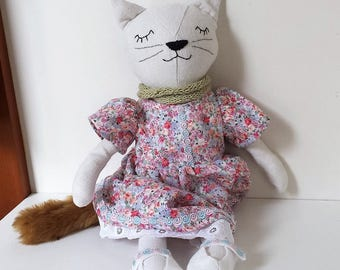 Fabric Cat Doll, Rag Doll Cat, Soft Cat Doll in Dress, named Charlotte